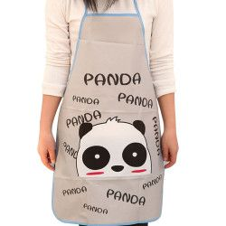 Women Waterproof Cartoon Animals Panda Kitchen Cooking Bib Apron Sleeveless Anti-oil Waist Bib lovely kitchen cooking Accessory