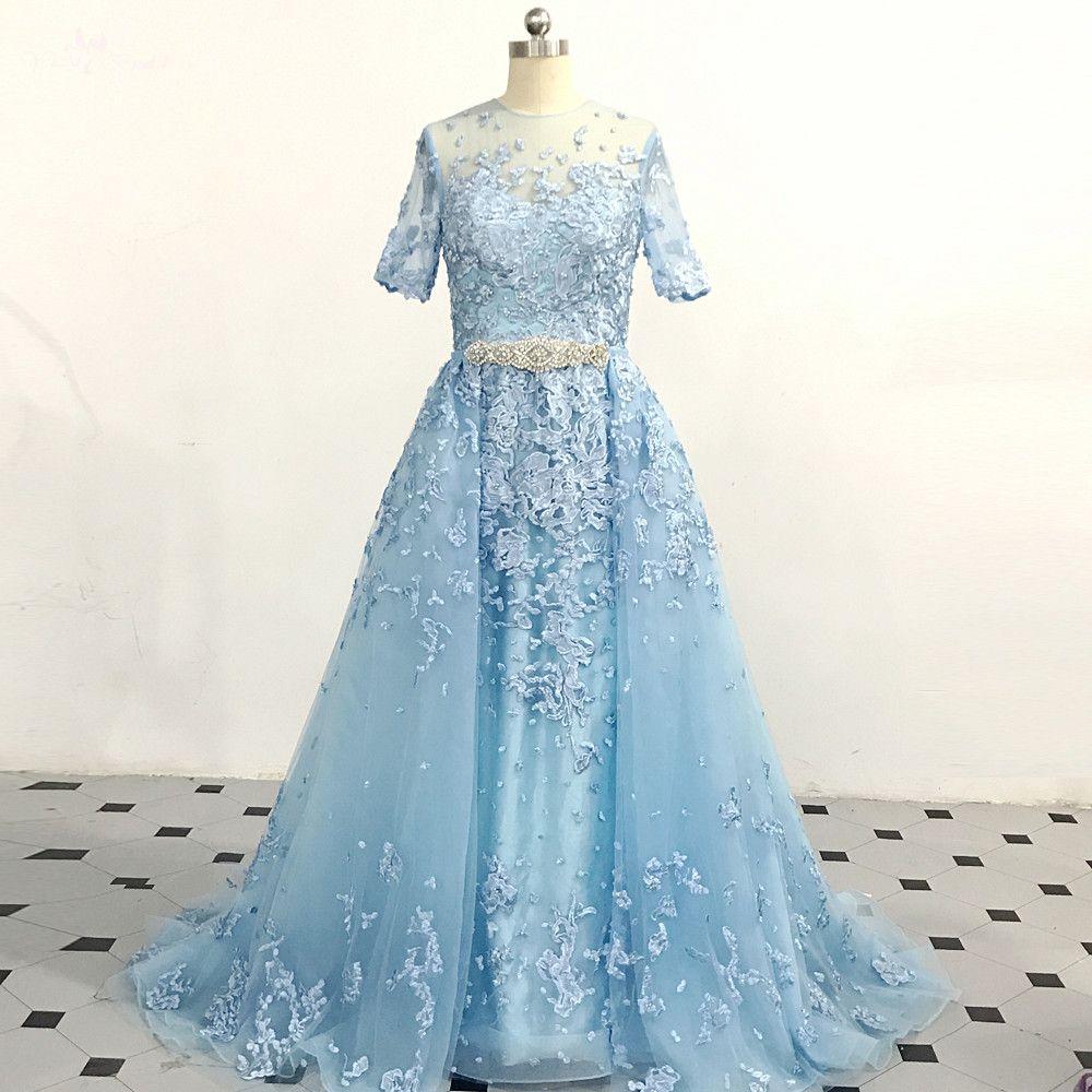 RSE892 Halbarm Lange Abnehmbare Zug Blau Zwei Stück Prom Kleid