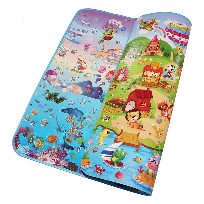 Double côté mer monde heureux ferme bébé jouer tapis infantile ramper jouer tapis bambin Gym tapis enfants pique-nique 5 MM épaisseur