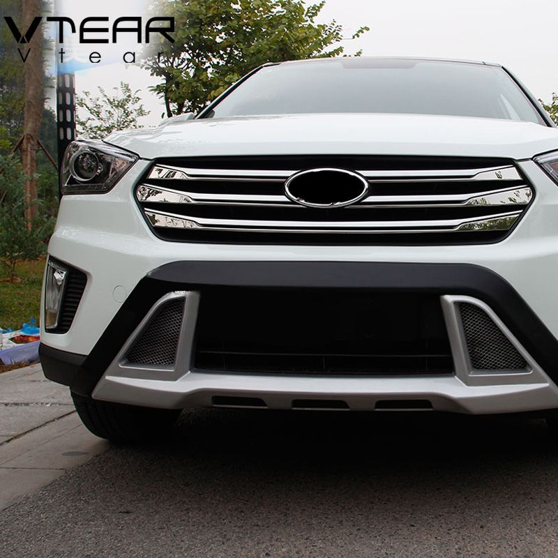 Vtear For ix25 hyundai creta accessories grille front Racing Grille Cover trim Exterior decoration Chromium Styling 2015-2018