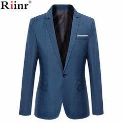 Riinr nueva llegada marca ropa otoño hombres Blazer moda trajes masculinos Delgado Color sólido ocasional masculino Blazer tamaño