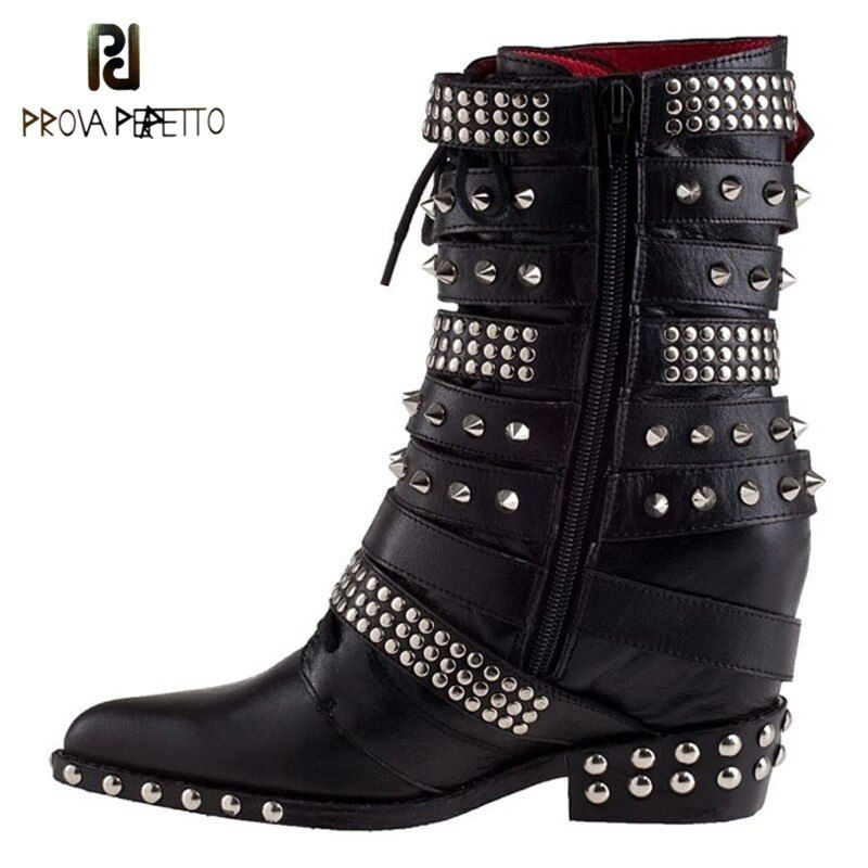 Prova Perfetto 2017 New Trend Women Boots Wedge Heel Pointed Full Rivets Boot Fashion Belt Buckle Martin Shoes Autumn Winter