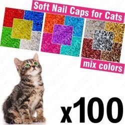 100 قطع لينة قبعات مسمار للقطط + 5x لاصق الغراء + 5x قضيب/* XS S ، M ، L ، غطاء ، القط ، مخلب ، مخلب ، zot */