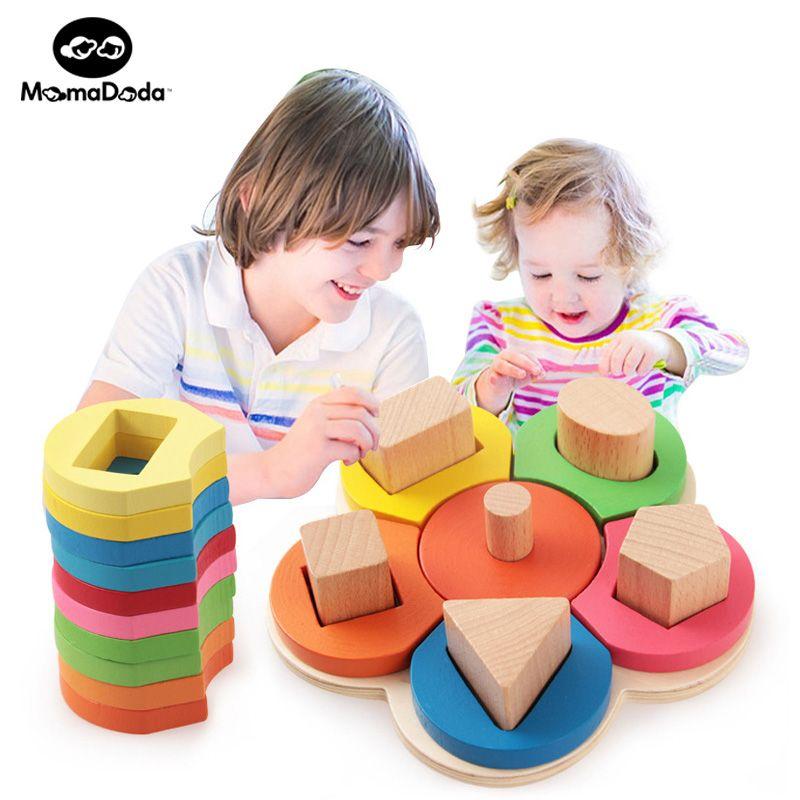 Montessori matériel pédagogique tapis bébé jouets éducatifs pour bébé en bois Montessori enseignement aide fleur forme ensemble de colonne