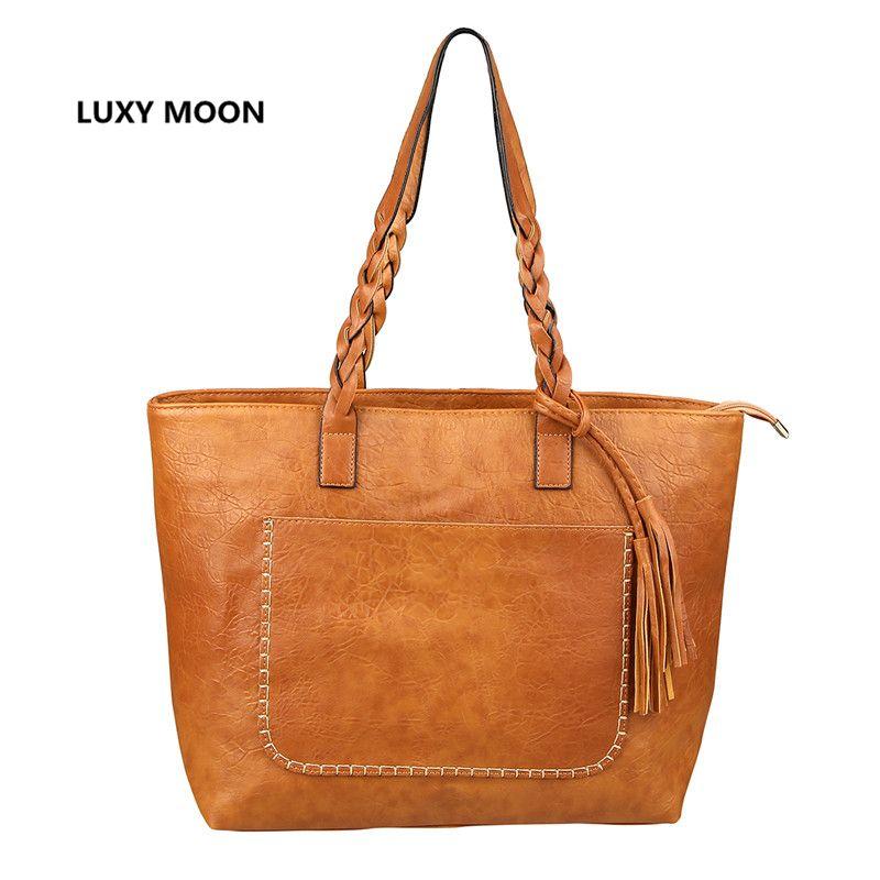 Luxy Moon PU Leather Tassel Women Handbags Work Totes Vintage sac a main High Quality Shopping Fashion Large Handle Shoulder Bag