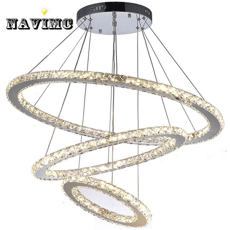 Fernbedienung LED K9 Kristall Kronleuchter Anhänger Lampe für Esszimmer Wohnzimmer Hotel mit 4 Ringe CE UL FCC LED