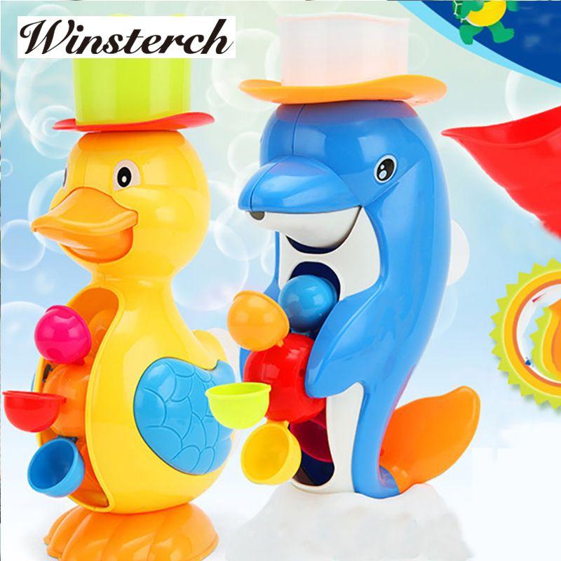 Новинка 2017 года; стильное платье Baby Shower Для ванной Игрушечные лошадки Cute Duck Дельфин животных Игрушечные лошадки смеситель для душа Для ванн...