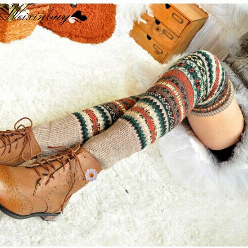 WEIXINBUY Femmes Hiver Jambières Élégant Sur Genou Longues Tricot couverture Patchwork Coloré Dames Crochet Vintage Legging Chic