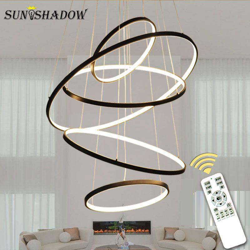 LED moderne lustre anneaux cercle plafonnier LED lustre éclairage pour salon salle à manger cuisine noir & blanc & or