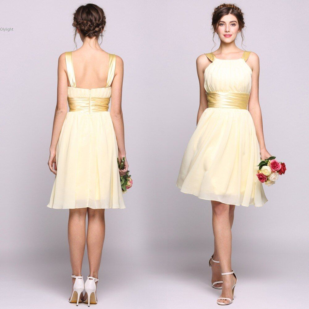 Plus Size Sexy Elegant Straple dress Pleated Ruffles Chiffon Knee-length Dress with Charmeuse Sash Show Dress