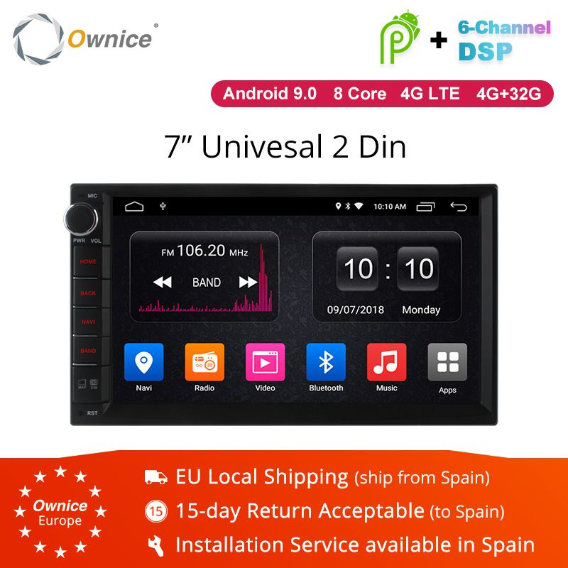 Ownice K1 K2 K3 Android 9.0 Octa 8 core Radio 2 DIN 2GB RAM 32GB ROM universelle GPS Radio WiFi Support 4G LTE réseau DAB + pas de DVD