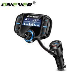 Onever FM Bluetooth Transmisor FM Modulador 2 Puerto de Carga Rápida 3.0 Cargador de Coche Manos Libres 1.65 ''Reproductor de MP3 de Apoyo Siri