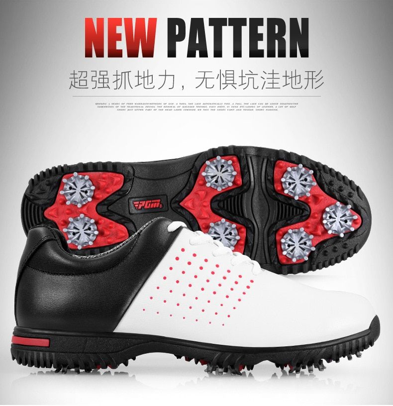 microfiber leather breathable waterproof patent men sport shoes activities nail anti-skid good grip resistant golf shoes