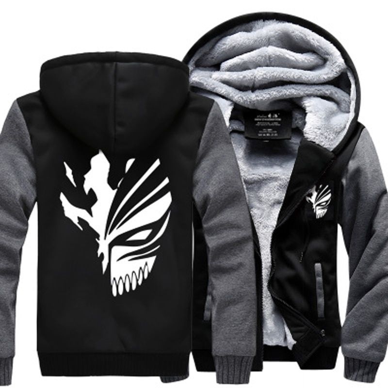Sweatshirt Anime Bleach Kurosaki Ichigo hoodies 2017 spring winter thicken fleece men's jacket sportswear crossfit Zip Up hoody