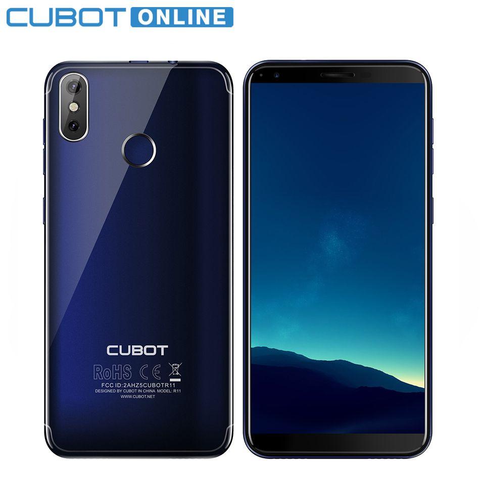 Cubot R11 5.5'' 18:9+Screen 2GB 16GB Smartphone MT6580 Quad Core Android 8.1 Fingerprint Dual Back Cameras Cellphone