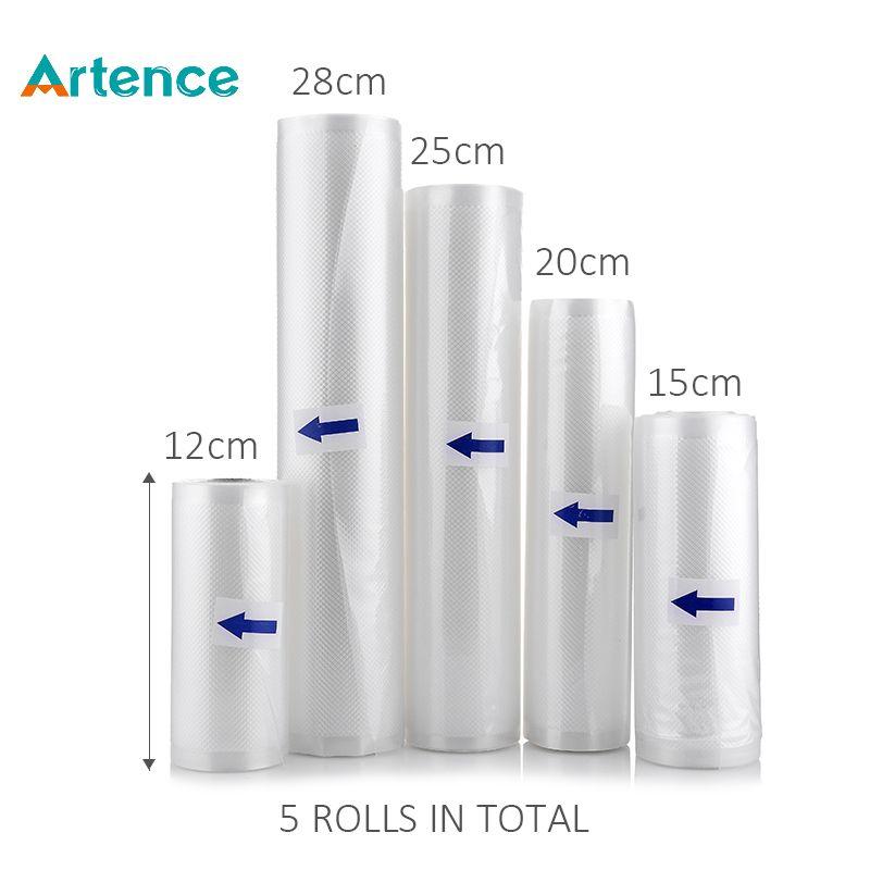 Вакуумные мешки для упаковки и длительного хранения и свежести продуктов на кухне Мешок Хранения,5 рулонов по 12 + 15 + 20 + 25 + 28 см * 500 см