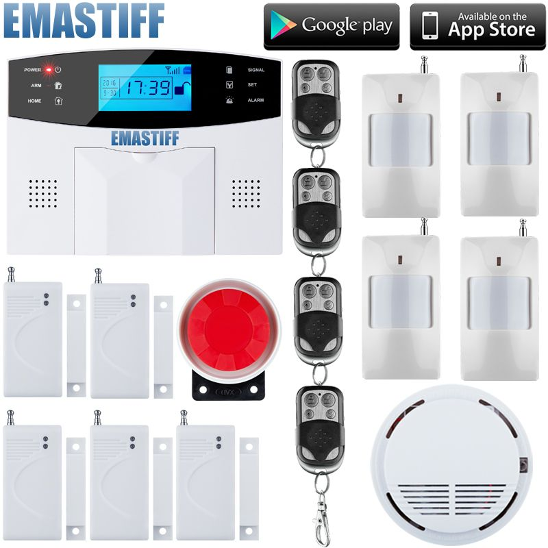 LCD Keyboard RU/SP/EG/FR/IT Voice Wireless SMS Home GSM Alarm system House intelligent auto Burglar Door Security Alarm Systems