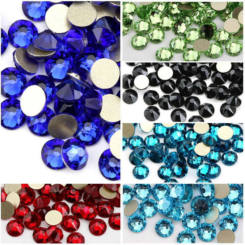 SS20 Many <font><b>Colors</b></font> 8 big + 8 small Cut Facets Nail Rhinestone Crystal Flatback Non Hotfix Rhinestones Decoration Crystal Stones