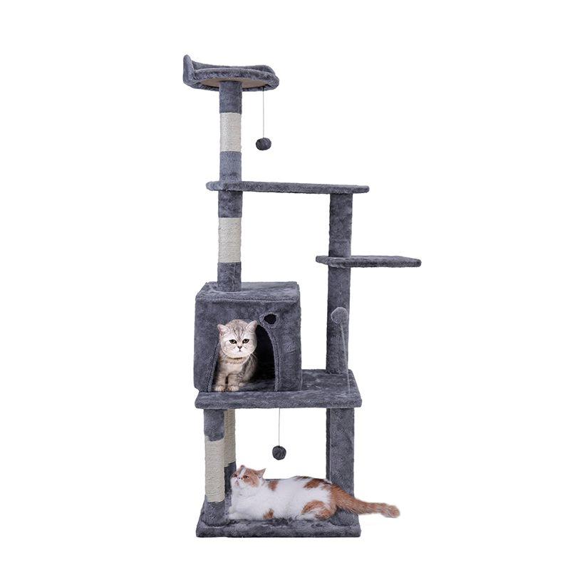 Внутренние поставки Кот игрушка Многофункциональный Кошка дом дерево скалолазание, прыжки Рамки с лесенка сизаль когтеточка Кошка Мебель