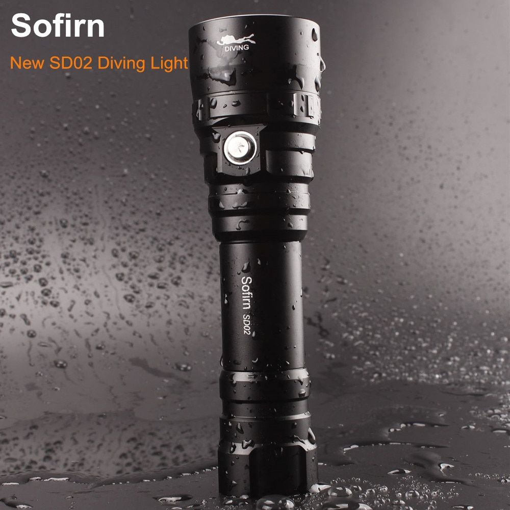 Sofirn SD02 Professional Scuba Diving Flashlight 18650 Powerful Dive Light Cree XPL 1050lm LED Lamp Underwater Searchlight Torch