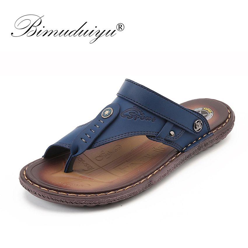 BIMUDUIYU Brand Fashion Men Beach Sandals High Quality Leather Beach Sandals Summer Breathable Casual Shoes Non-slip Slippers