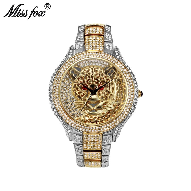 Miss Fox Mens Watches Top Brand Luxury Tiger Men Watch Quartz Contracted Choque Casual Genuine Silver Gold Wrist Watch For Men