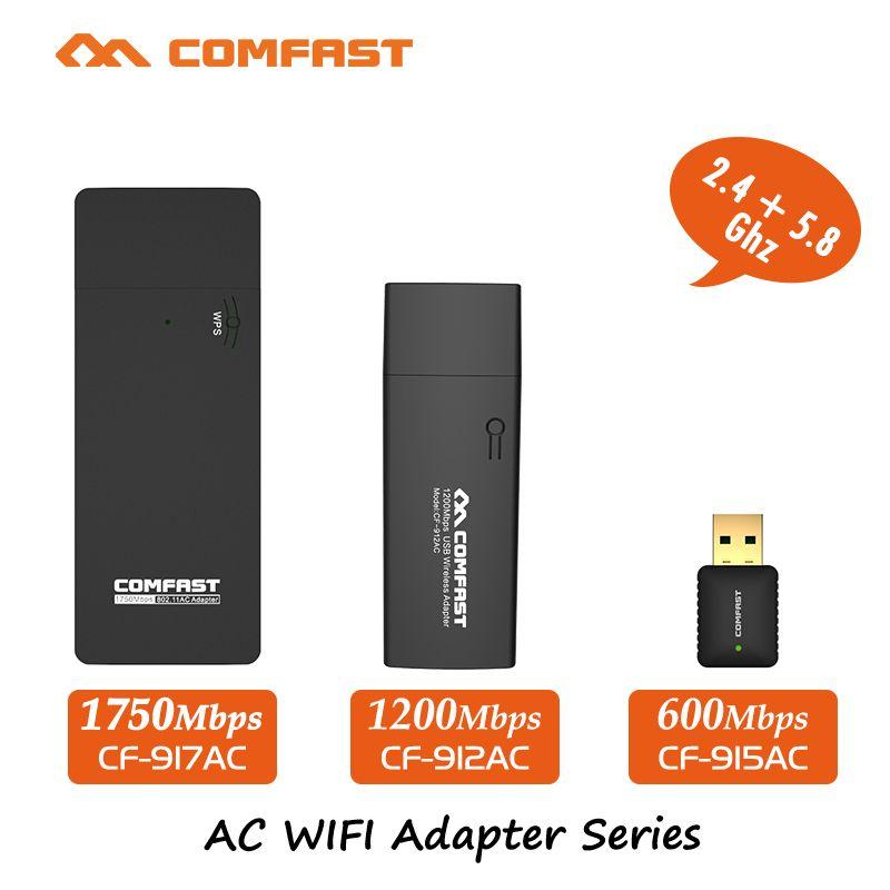 COMFAST usb wifi adaptateur 600mbps ~ 1750 mbps 802.11ac/b/g/n 2.4 ghz + 5.8 ghz double Bande wi-fi dongle ordinateur AC Carte Réseau Série
