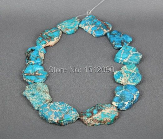 Sky Blue Sea Sediment Slice Beads,Drilled Emperor Stone Slab Beads,Large Aqua Terra Pendant Necklace 20-28x25-36mm