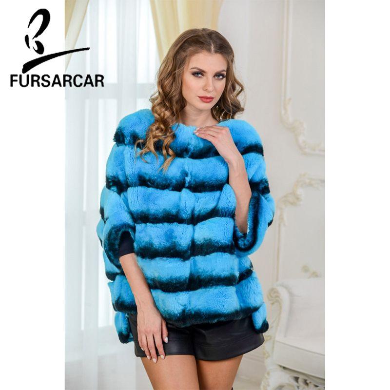 FURSARCAR 2018 Blau Farbe Frauen Echt Rex Kaninchen Pelz Mantel Mode Neue Kaninchen Fell Cape Luxus Winter Pelz Jacke schal