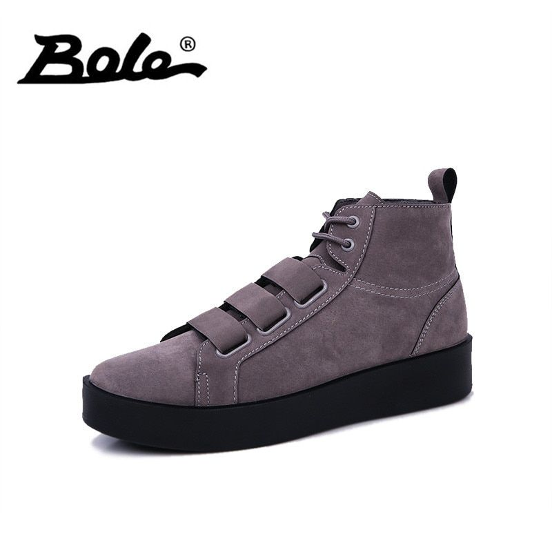BOLE Spring Autumn New Design Sneakers Men Waterproof Casual Boot Light Weight High-top Shoes for Men Leather Casual Shoes