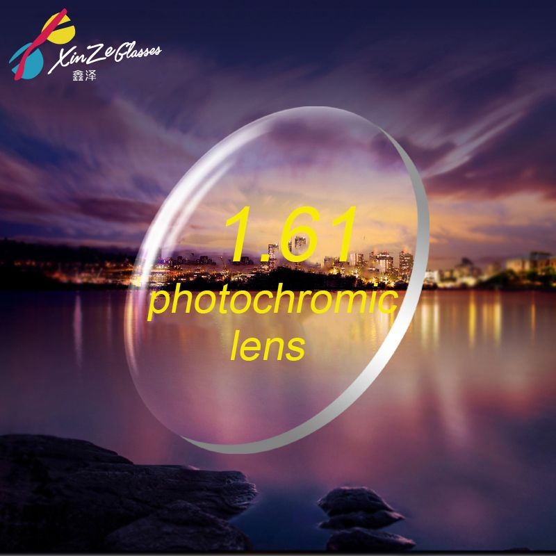 XINZE 1.61 verres photochromiques lunettes myopie couleur film devient grisé thé lentilles de résine de myopie Hypermétropie vieux fleur mince Clair