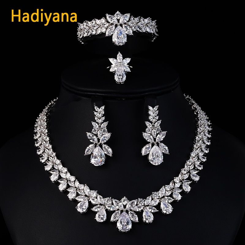 Hadiyana Luxury Bridal Wedding Jewelry Sets For Women New Sparkling AAA Zircon Paved Copper Fashion Bridesmaid Jewelry Set CN184