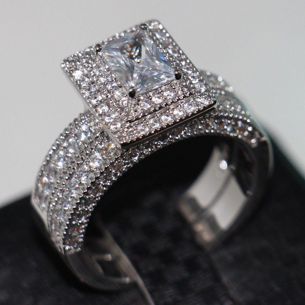 Размеры Виктория Вик Винтаж Jewelry ценным 138 шт. Diamonique CZ имитации камней 14kt Белое Золото Заполненные Обручальное кольцо комплект