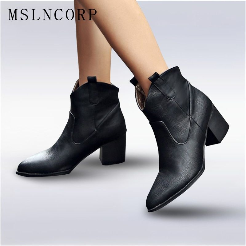 Plus Size 34-48 Soft Leather Women Ankle Boots Spring Autumn Thick High Heel Martin Boots Winter Snow Handmade Shoes Boot Black