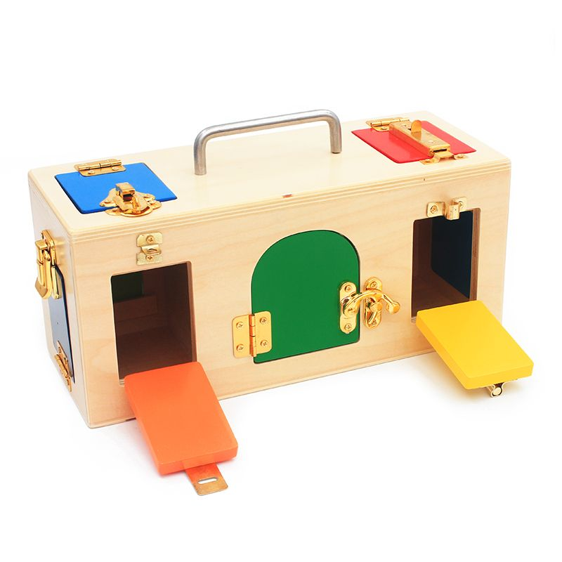 Montessori Materials Practical Life Toy Lock Box Open the Lock Key Educational Wooden Toys For Children Basic & Life Skills Toy