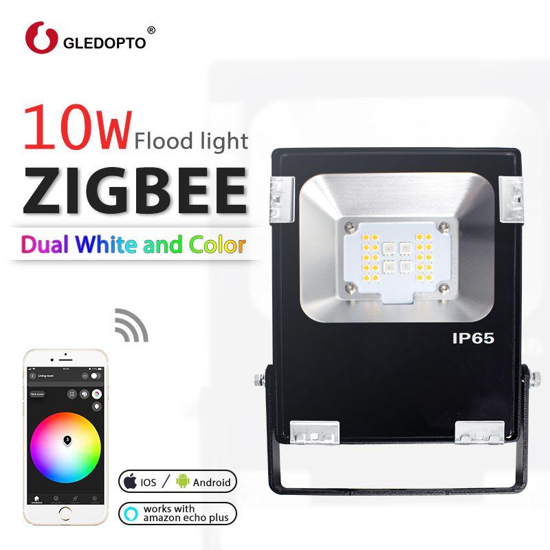 Gledopto smart zigbee 10 W led flutlicht rgb + cct ww/cw outdoor licht arbeit mit gateway echo plus AC100-240V AU EU UNS UK Stecker