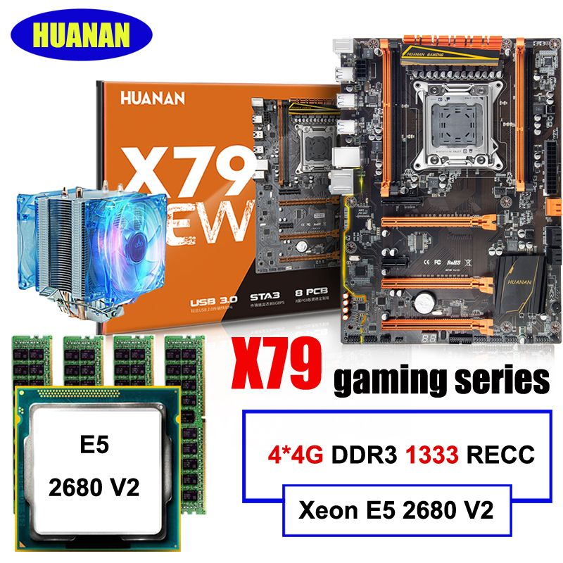 New arrival!!!HUANAN DELUXE X79 LGA2011 gaming motherboard set Xeon E5 2680 V2 RAM 16G(4*4G) DDR3 1333MHz RECC with CPU cooler