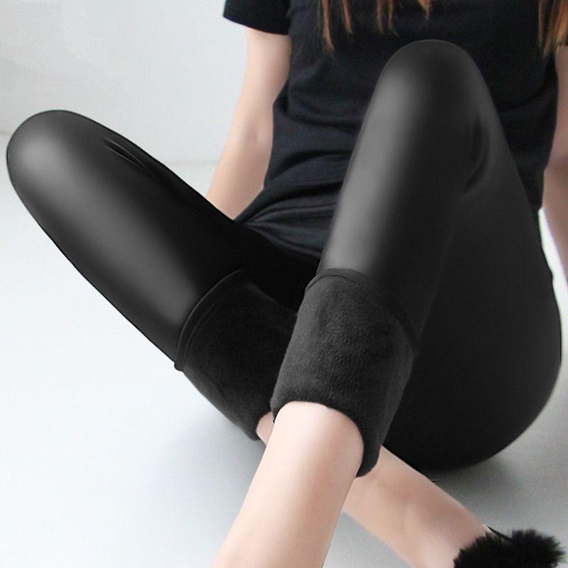 Зимние теплые 100 кг жира мм плюс размер женщин плюс бархат сплошной цвет искусственная кожа высокого брюки с высокой талией Леггинсы 6XL Femme ...