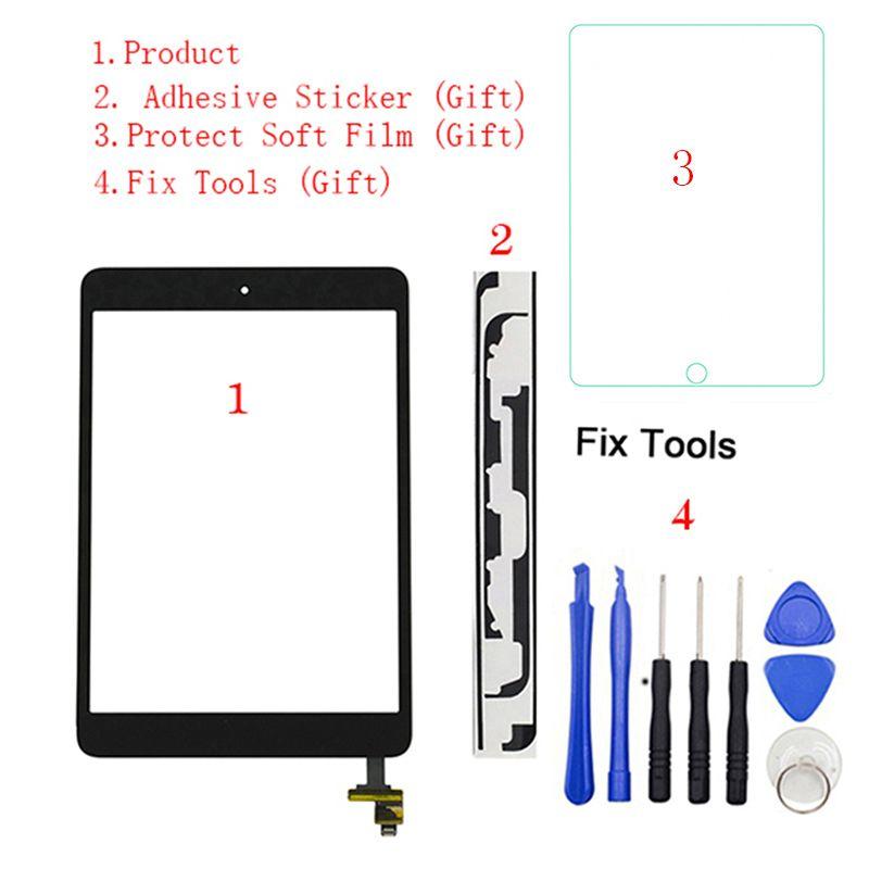 1Pcs For iPad Mini 1 Mini 2 A1432 A1454 A1455 A1489 A1490 A149 Touch Screen Digitizer Sensor+IC Chip Connector Flex+Key Button