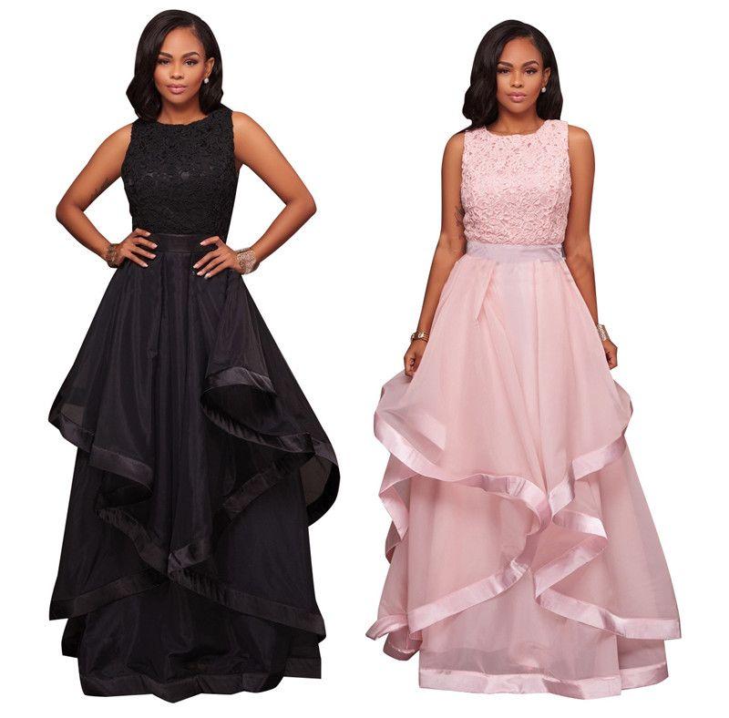 Nueva Rosa negro vestido largo mujeres más tamaño elegent partido vestido Maxi sin mangas atractivo bola 3XL-S vestidos de encaje elegantes