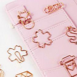 Nueva Rosa rojo/oro rosa clips de papel diamante/tazas/cámara/gato del planificador herramientas scrapbooking herramientas metal BINDER PaperClip