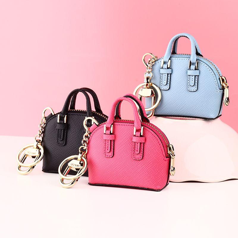 Milesi-Marque De Luxe Véritable Porte-Clé En Cuir porte-clés avec Mini Shell Sac Porte-Monnaie Nouveauté Cadeau De Mariage Femmes sac pendentif