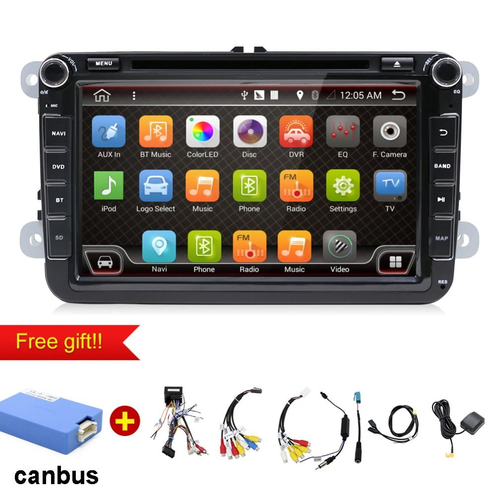 Android 7.1 Car DVD for VW passat b7 b6 golf 5 Jetta Passat Tiguan Touch Screen Wifi GPS Bluetooth Radio USB SD Steering wheel