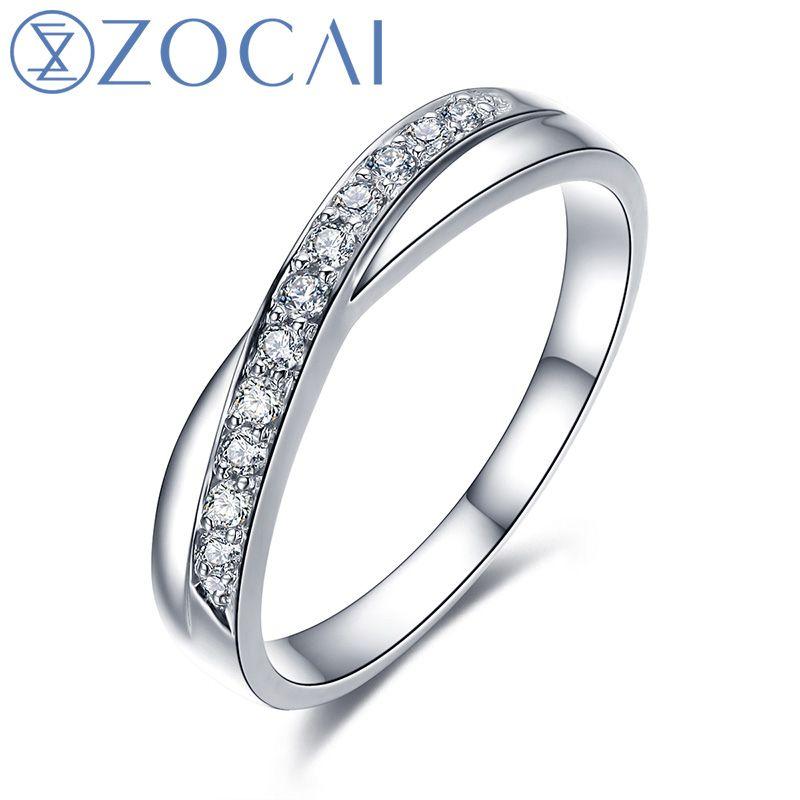 ZOCAI LOVE ENCOUNTER NATURAL 0.12 CT CERTIFIED I-J / SI DIAMOND WEDDING BAND RING ROUND CUT 18K WHITE GOLD JEWELRY Q00440A
