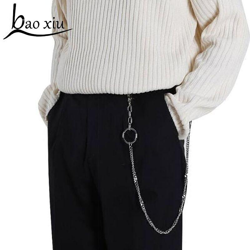 2019 Vintage longue chaîne en métal Rock Punk pantalon Hipster pantalon Jean porte-clés anneau Clip porte-clés HipHop perles accessoires pour hommes