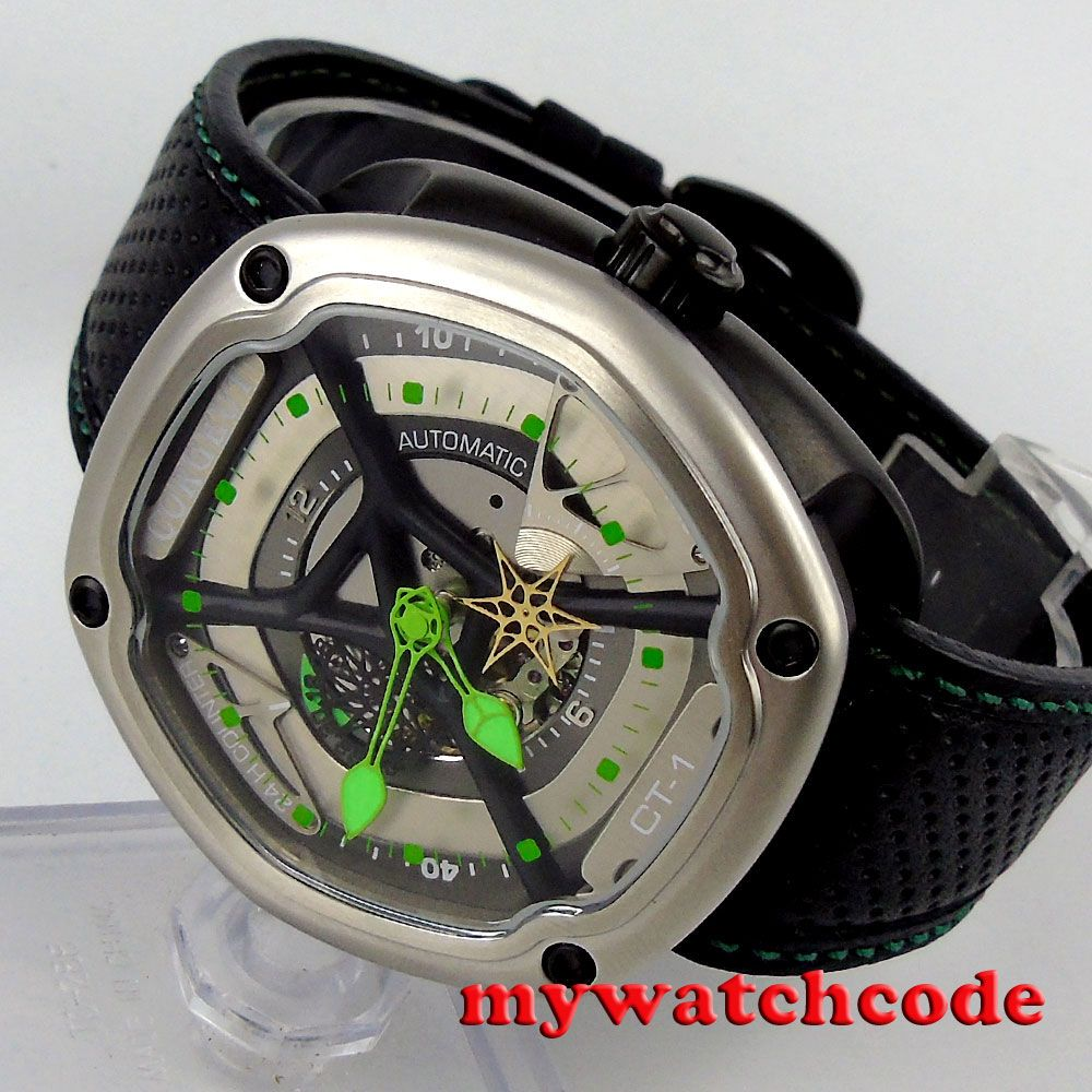 Famous brand 45mm corgeut hollow dial green hands PVD case miyota 82S7 Automatic mens Watch