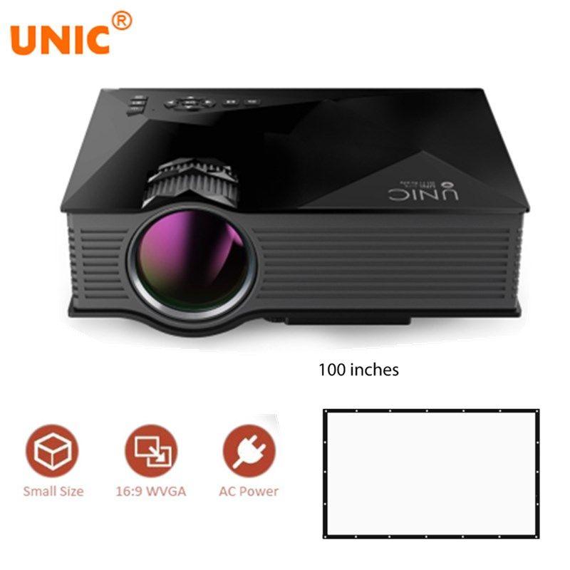 Unic uc46 + мини-проектор упрощенный Micro LED видео домашнего Кино WI-FI проектор готов Поддержка Miracast Dlna Airplay