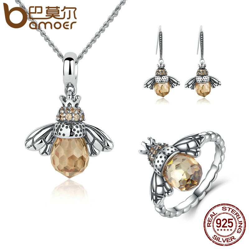 BAMOER 100% 925 Sterling Silver Jewelry Set Lovely Orange Bee Animal Jewelry Sets Wedding Anniversary Bridal Jewelry Sets ZHS043