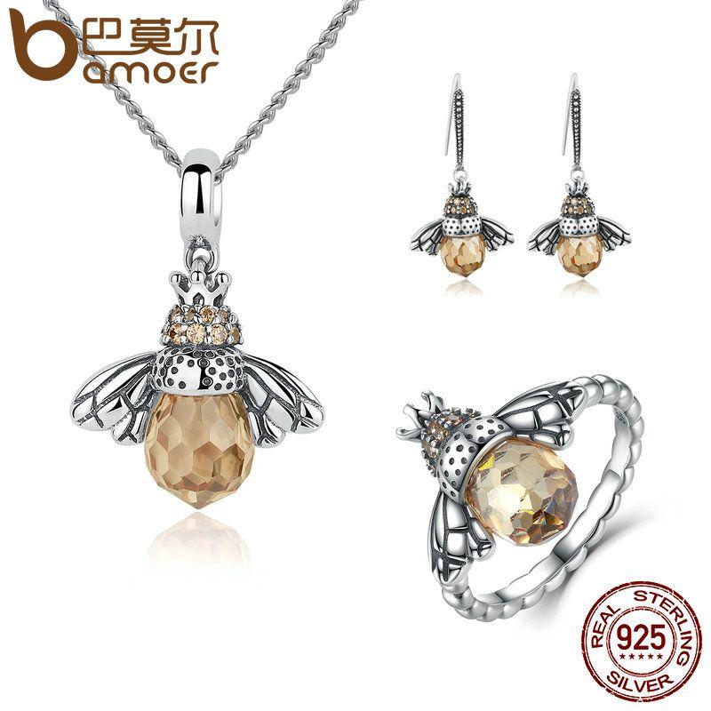 BAMOER 100% 925 Sterling Silver Jewelry Set Lovely Orange Bee Animal Jewelry Sets Wedding Anniversary Bridal Jewelry Sets ZHS043
