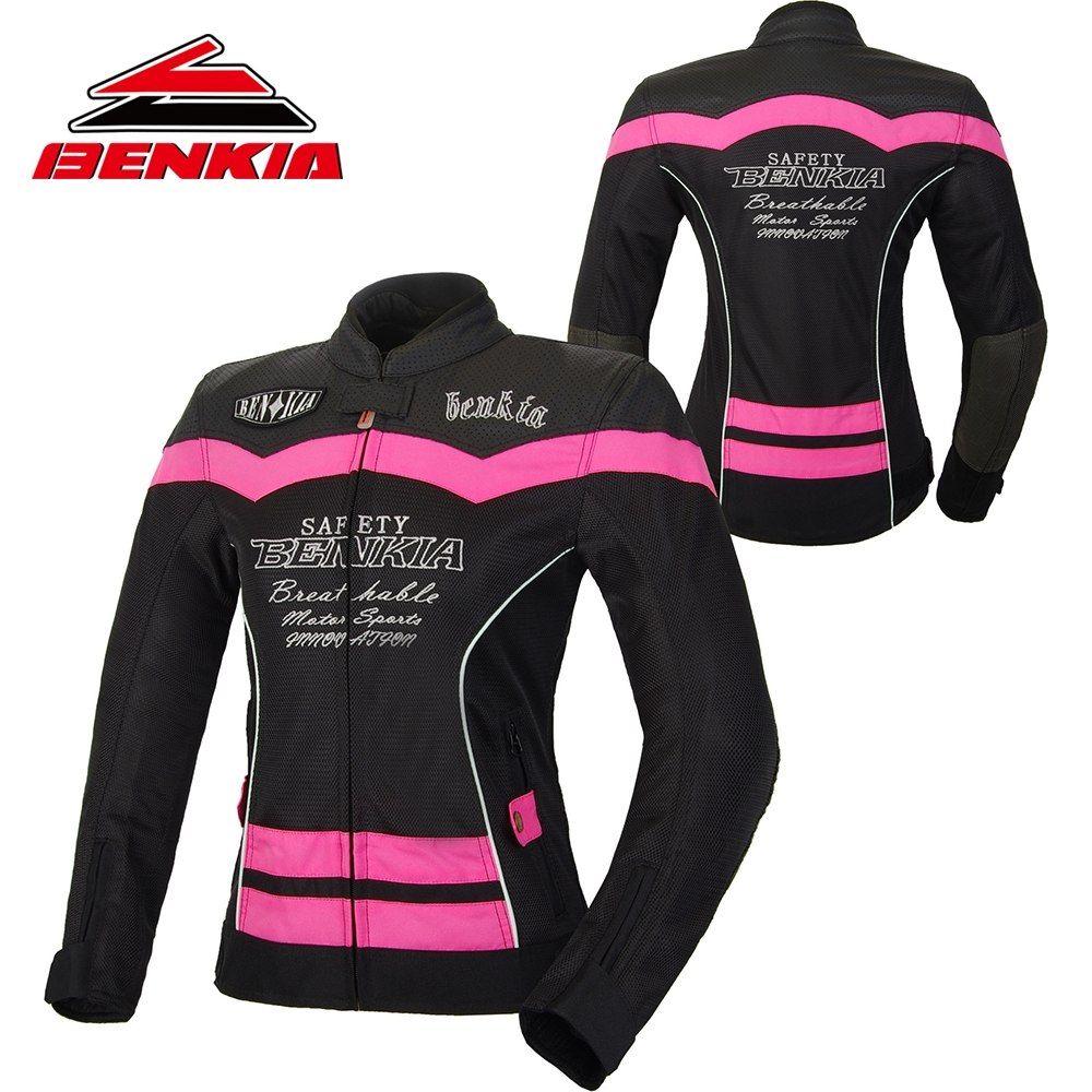 BENKIA Motorcycle Jacket Summer Mesh Breathable Jacket Motorcycle Racing Suit Ventilation Riding Moto Jacket Women JS-W55